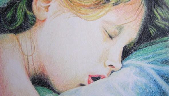 """Tekening: """"Jonah Slaapt"""", gemaakt door Mirjam Kleywegt. potlood op papier."""