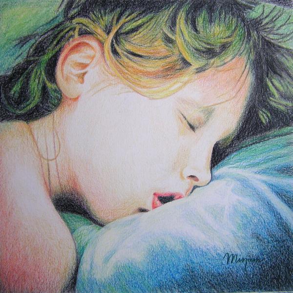 """Tekening: """"Jonah Slaapt"""", gemaakt door Mirjam Kleywegt. Kleurpotlood op papier."""