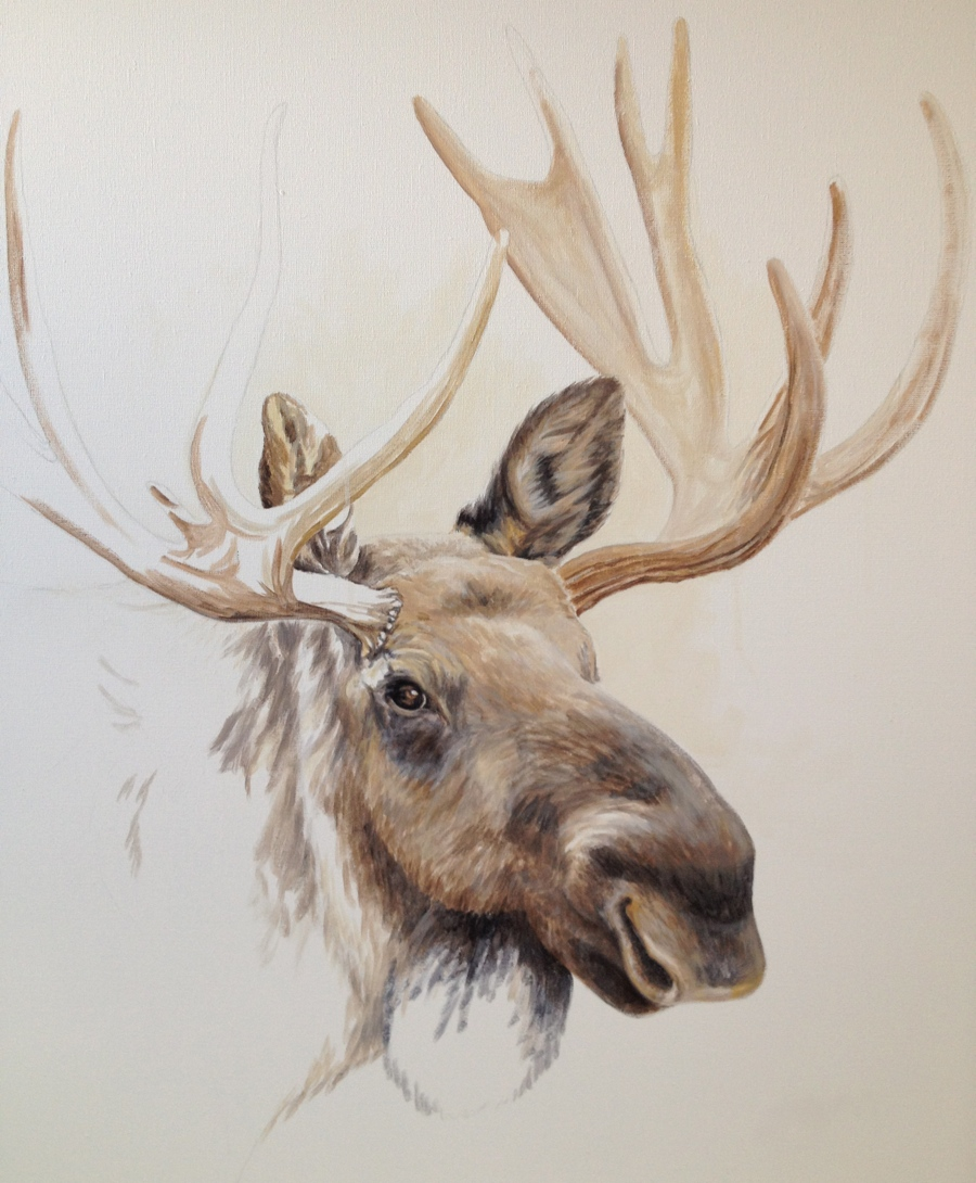 """Schilderij """"Moose"""" - gemaakt door Mirjam Kleywegt - Acrylverf op katoen."""
