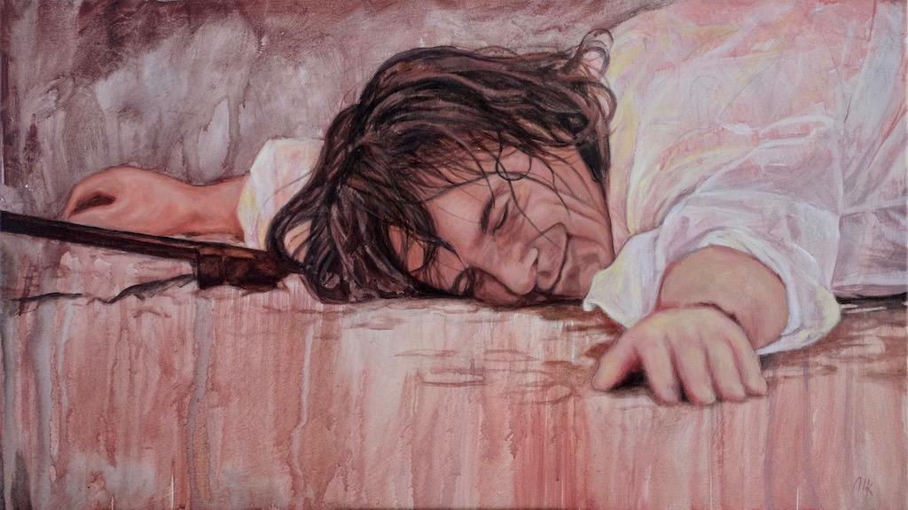 Een portret van Steve Hogarth, geschilderd door Mirjam Kleywegt