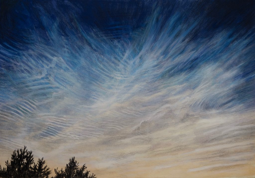 Noctilucent Clouds - a drawing made by Mirjam Kleywegt